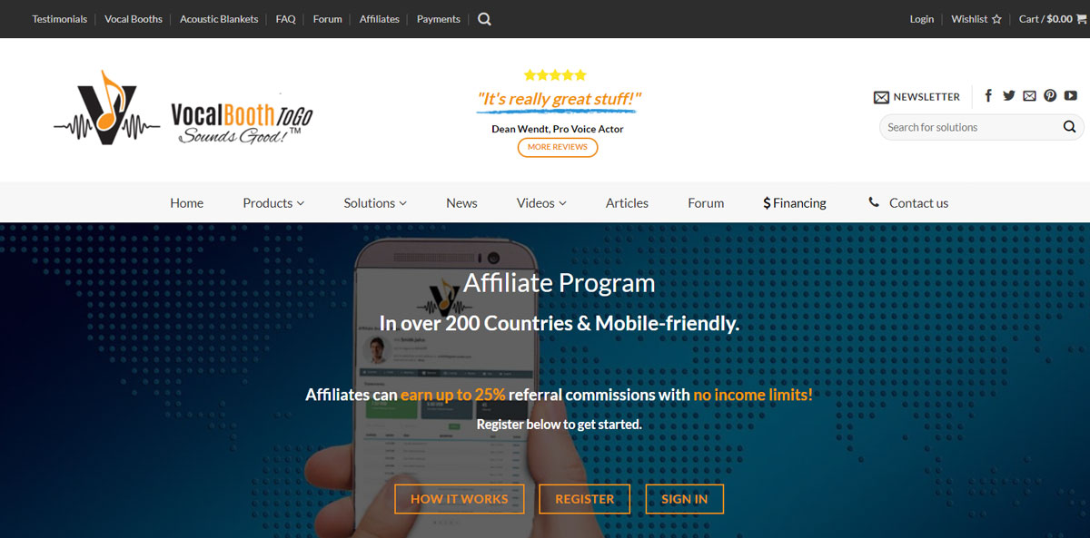 Affiliate program development by Virbion for Vocal Booth To Go