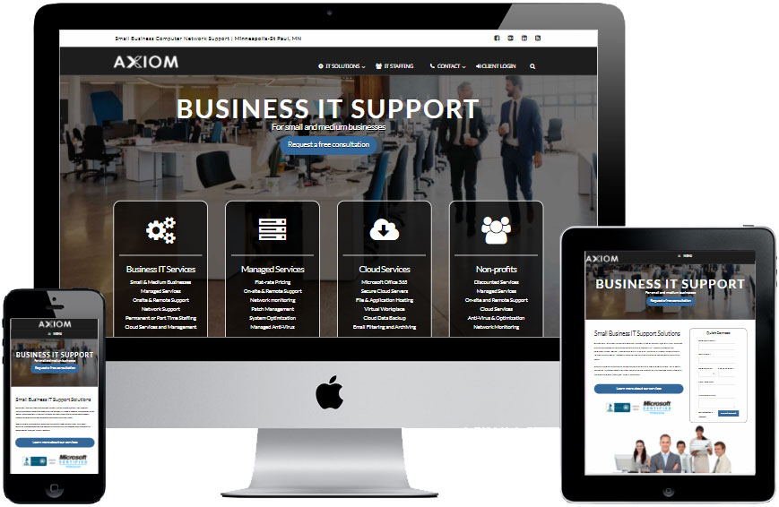 Axiom IT Services website and branding by Virbion Media
