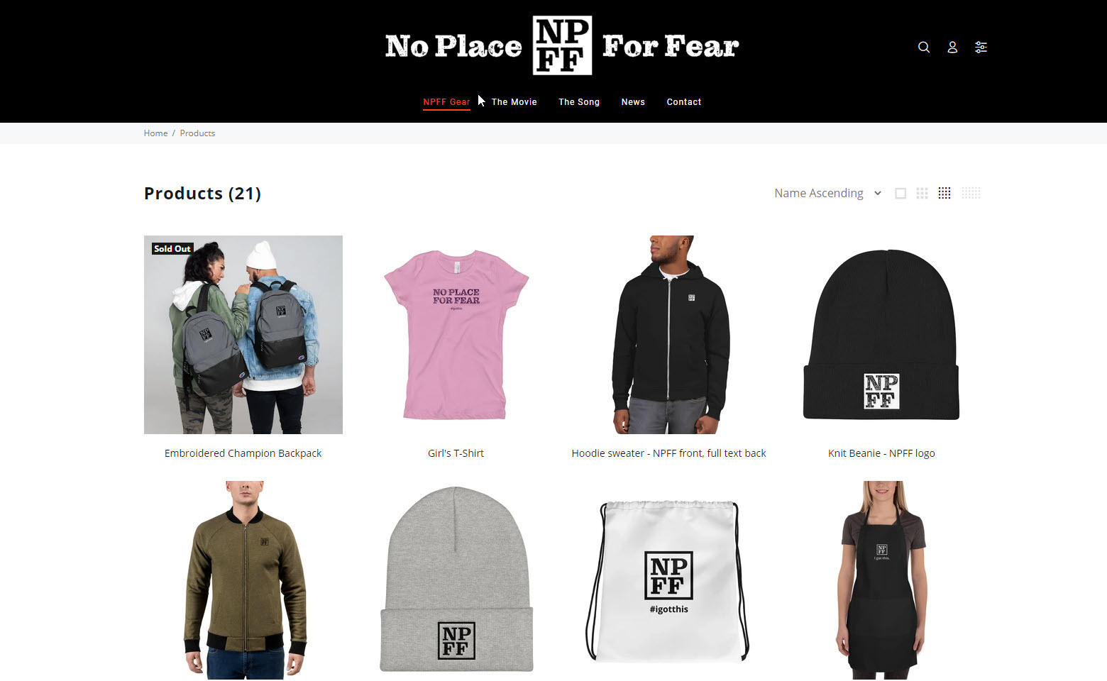 NPFF merchandise site developed and managed by Virbion
