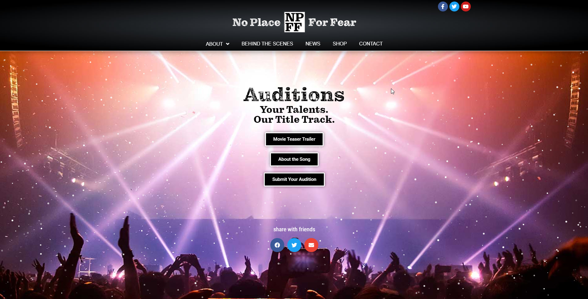 No Place For Fear song audition program developed by Virbion