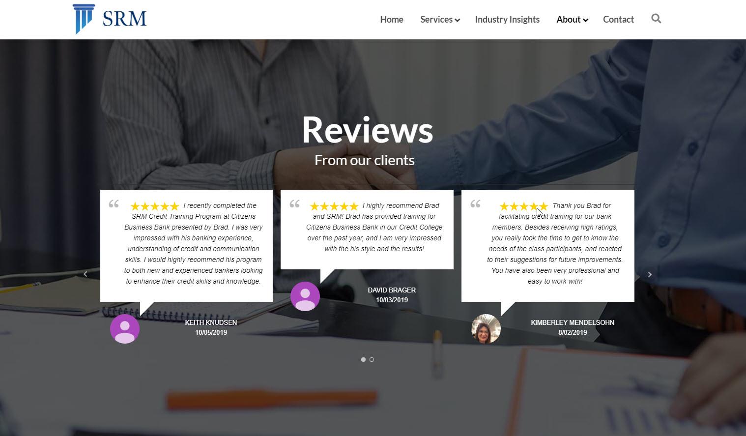 SRM reviews page