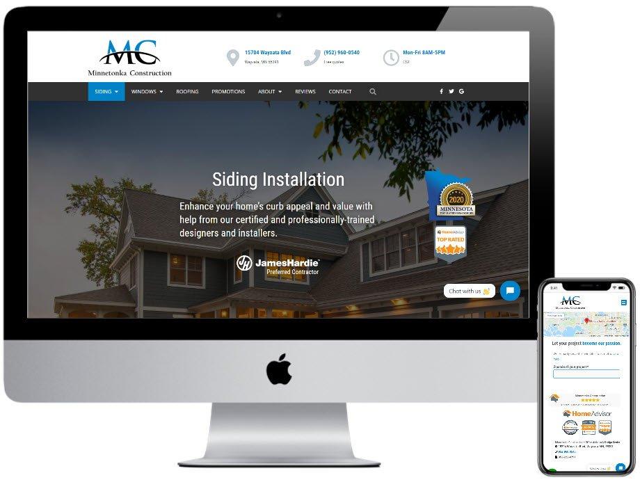 Minnetonka Construction website development by Virbion Media, Monticello MN